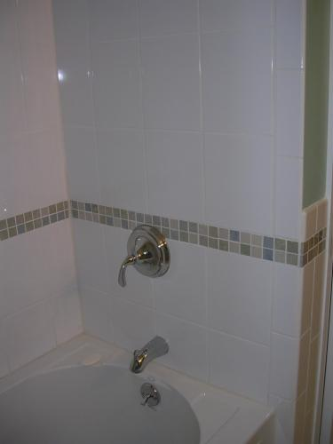 """alt=""""New shower installed with handle by Three Brothers Builders"""""""